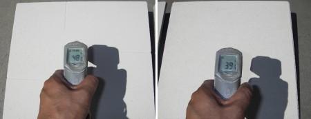 左:SiC板 48℃            右:ムライト板 39.5℃